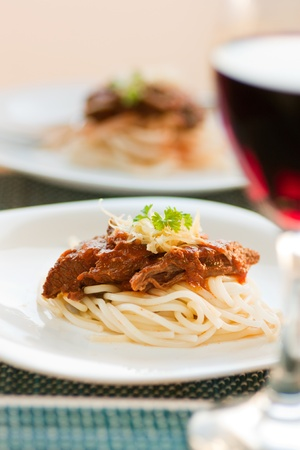 chunky: Spaghetti with beef and tomato sauce