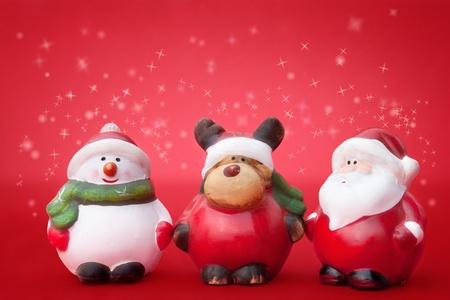 Santa, Rudolph et ornements de No�l bonhomme de neige