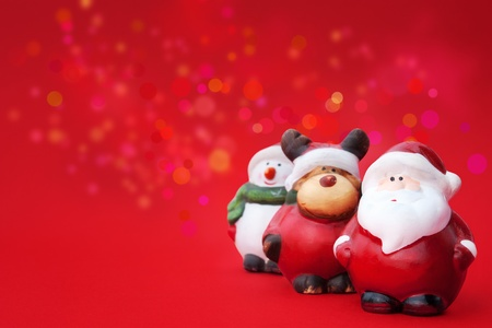santa, Rudolph and Snowman Christmas ornaments Stock Photo