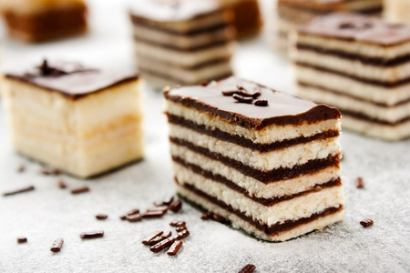 layer cake: Various cake pieces of chocolate and vanilla filling.