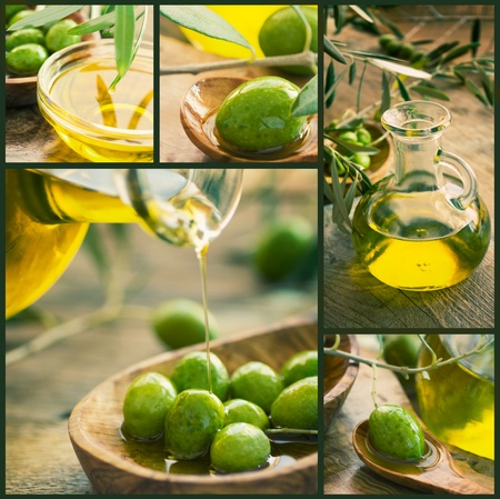Olive harvest collage made of five images. Freshly harvested olives, olive oil on olive wood Stock Photo