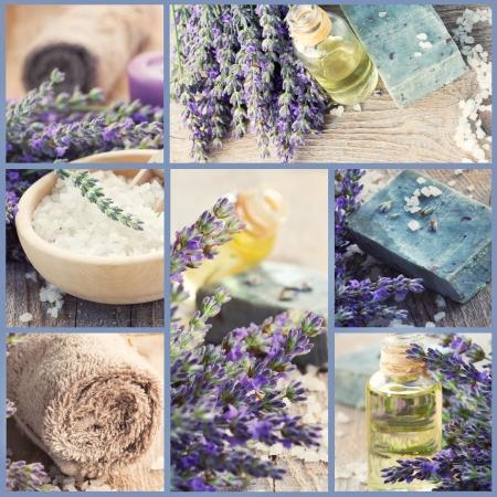 collage spa: Collage de Spa de bienestar de productos frescos de lavanda Foto de archivo