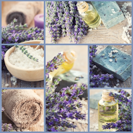 Wellness Spa collage of fresh lavender products photo