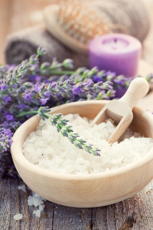 bathsalt: Spa setting with lavender, towel and natural soap