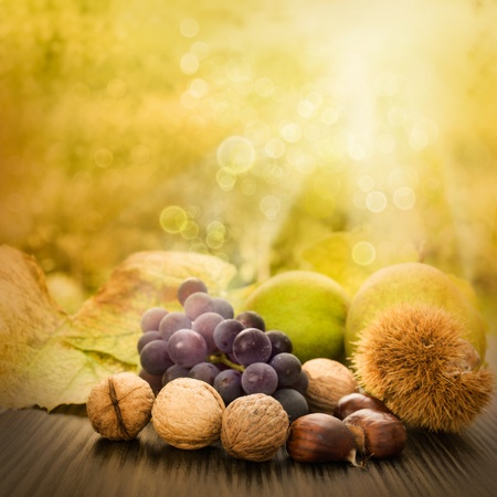 Nature background made of autumn fruit and beautiful sunlight in the back. Grapes, chestnut, vine leaf, walnuts, quince and apples. photo