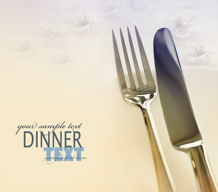 Fork and knife in elegant table setting photo