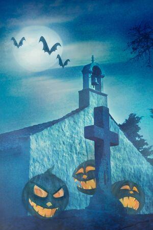 Halloween illustration with evil pumpkins Stock Illustration - 10682464