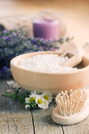 natural soap: Spa setting with lavender, towel and natural soap
