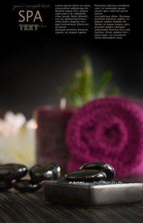 natural setting: Spa setting with volcanic pebbles and massage stones.