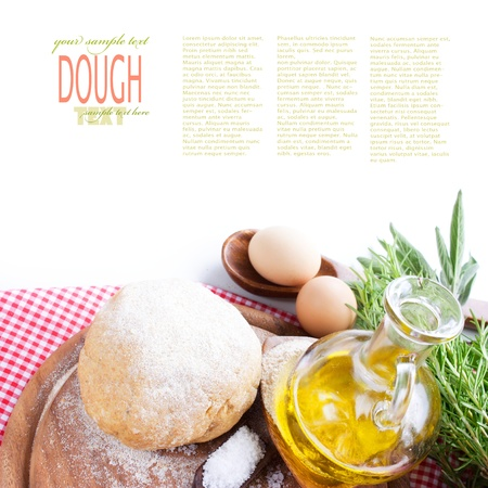 Fresh dough balls with egg, olive oil, fresh herbs and salt. photo