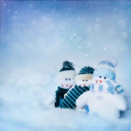christmas scene: Christmas abstract background with three snowman and beautiful winter background