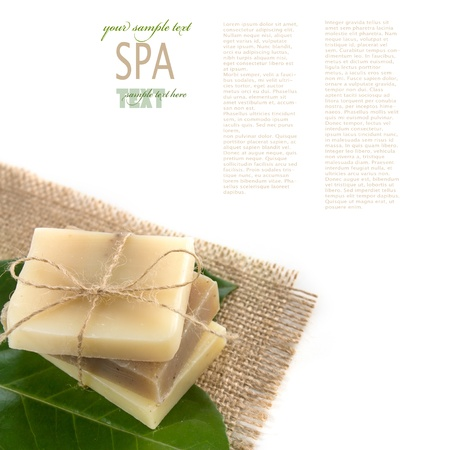 wellness background: Spa setting with natural soaps.