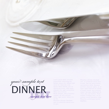 Fork and knife in elegant table setting