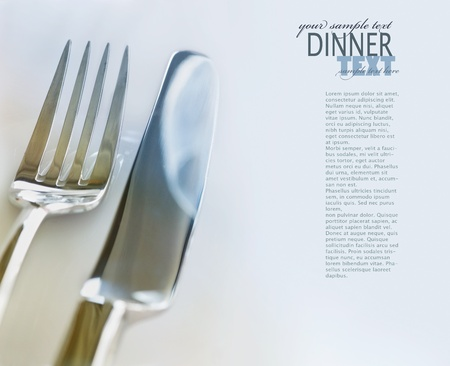 wedding table setting: Fork and knife in elegant table setting