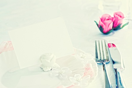 Table setting for romantic dinner or wedding Stock Photo - 10682630