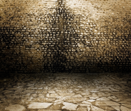 Old rough dark brick wall background texture. Stock Photo - 10987289