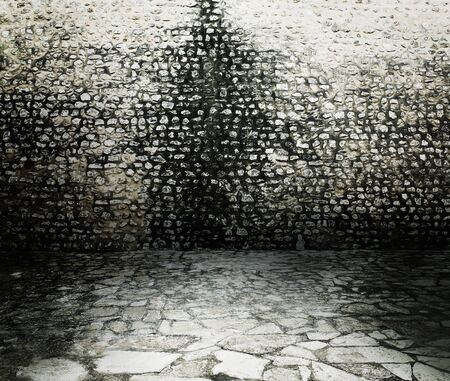 Old rough dark brick wall background texture. photo