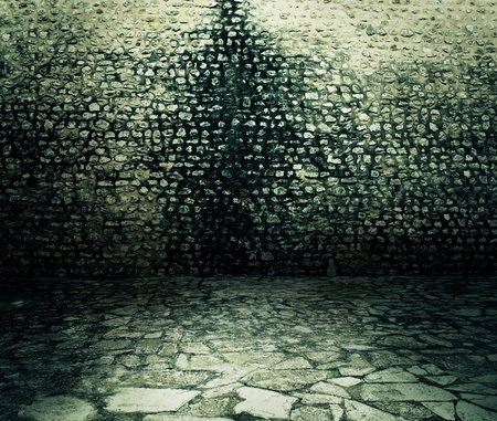 Old rough dark brick wall background texture. photo