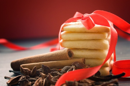 Heart shaped homemade butter cookies with aromatic spices. Stock Photo - 10682672