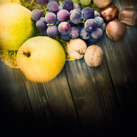 Nature background made of autumn fruit and beautiful sunlight in the back. Grapes, chestnut, vine leaf, walnuts, quince and apples. Stock Photo - 10800044