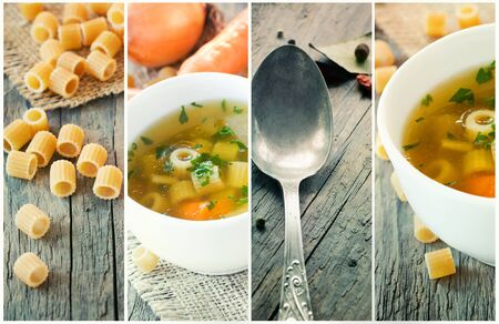 light meal: Vegetable rustic soup collage. Collection made of four images: soup with onion and carrots, parsley garnish, pasta and vintage spoon. Stock Photo