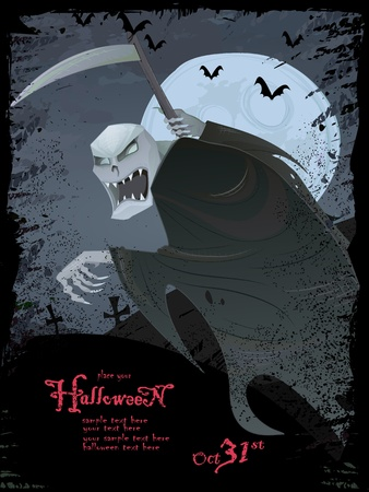 Halloween series.Halloween grunge template with scary grim reaper, bats, graveyard, bugs  photo