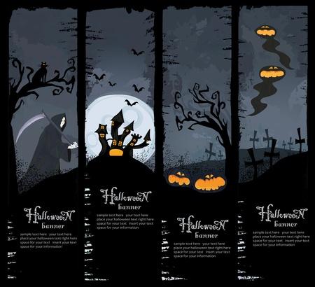 guadaña: Halloween serie. Conjunto de cuatro banderas de Halloween. De tamaño estándar.