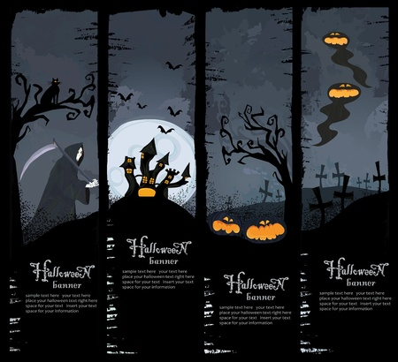 Halloween series. Set of four Halloween banners. Standard size.  photo