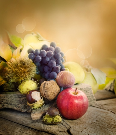 Nature background made of autumn fruit: chestnut, grapes, apple, walnut, pear, fig and quince photo