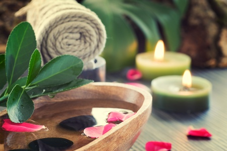 Natural spa setting with rose water. Stock Photo