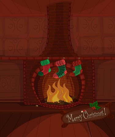 Christmas series. Beautiful fireplace with fire brning and three stockings waiting for Santa Claus. Available space for your text Vector