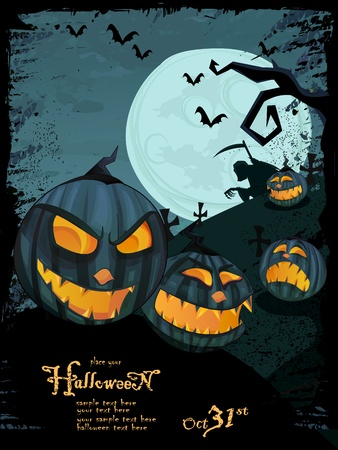 Halloween template with night landscape, evil pumpkins, spooky tree, graveyard with glowing moon and clouds in the back. Space for your text  Vector