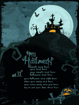 Halloween template with haunted castle  Vector