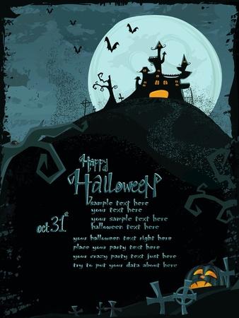 Mod�le de Halloween avec ch�teau hant�