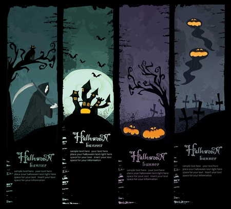 Grim Reaper: Set of four grunge Halloween banners. Standard size. Grim reaper, haunted castle, spooky pumpkins and scary ghosts on the graveyard. Everything you need for your Halloween party Illustration