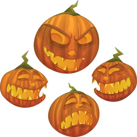 witch face: Halloween pumpkin character with different face expressions: scared, evil, scary, happy  Illustration