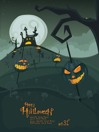 horror house: Halloween template with night landscape, evil pumpkins, spooky tree, graveyard and haunted house with glowing moon and clouds in the back.  Illustration