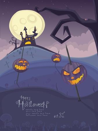 horror castle: Plantilla de Halloween con el paisaje nocturno, calabazas malas, �rbol spooky, cementerio y casa embrujada con Luna resplandeciente y nubes en la espalda.