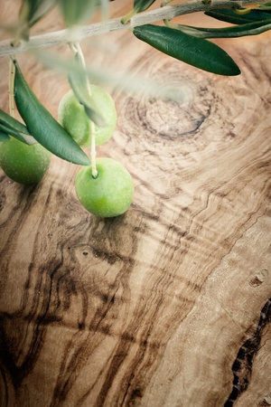 Summer olives nature background with fresh olive branch and olive wood Stock Photo - 10940831