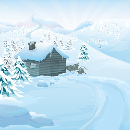 seasonable: Christmas vector series with copyspace. Winter landscape with wooden cottage in high mountains. Frozen snow and pine forest with slopes in the background
