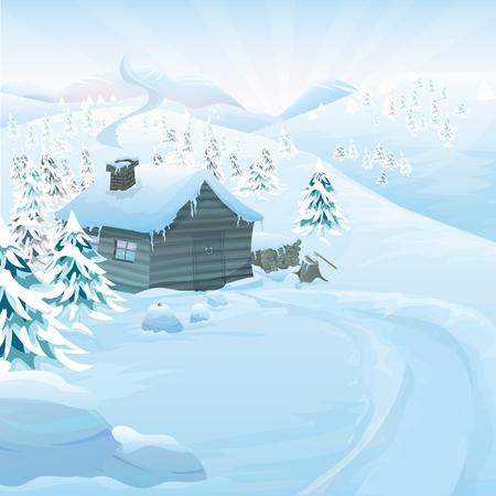 시골집: copyspace와 크리스마스 벡터 시리즈입니다. 높은 산에서 나무 오두막 겨울 풍경. 백그라운드에서 슬로프와 냉동 눈과 소나무 숲 일러스트