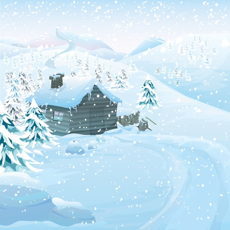 ice axe: Christmas series with copyspace. Winter landscape with wooden cottage in high mountains. Frozen snow and pine forest with slopes in the background Illustration