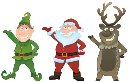 caribou: Christmas vector series. Set with Santa Claus , Elf and Rudolph reindeer