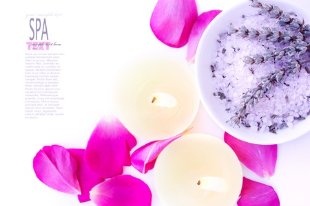 Spa setting with lavender flower and bath salt photo