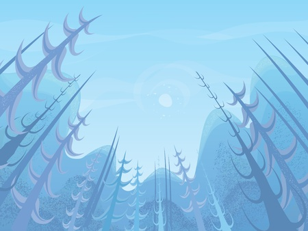 View through the trees in the pine forest Vector
