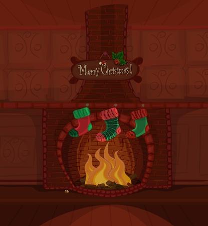 Kerst-serie. Mooie open haard met vuur brning en drie kousen te wachten voor Santa Claus. Beschikbare ruimte voor uw tekst
