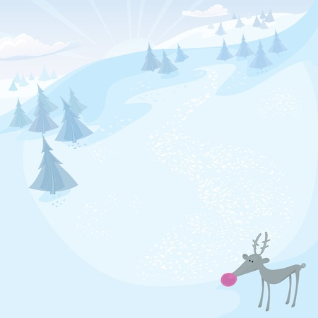 Christmas series. Holiday greeting card with Rudolph and frozen forest in the mountains. Vector