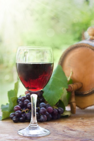 lightbeam: Glass of red wine with fresh harvested grapes and wine barrel Stock Photo