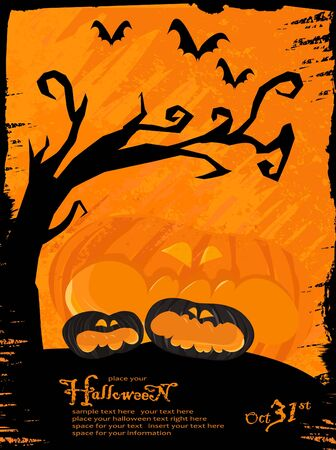 Spooky grunge halloween theme with pumpkins and bats. Available space for your text.  Vector