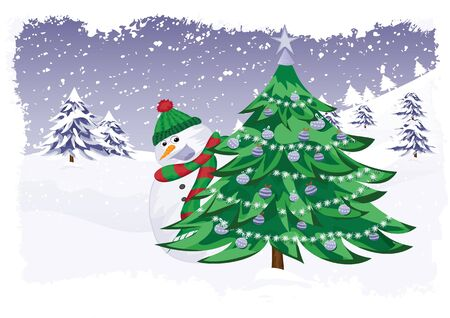 Christmas theme in the forest with snowman and Christmas tree Vector